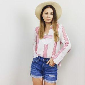 LOFT Pink Stripe Long Sleeve Top
